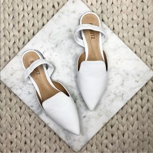 Schutz White Leather Pointed Slingback Flats
